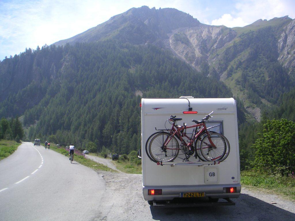 Campervan cooling off on the Col du Galibier., France